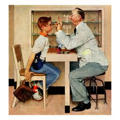 """""""At the Optometrist"""" or """"Eye Doctor"""", May 19,1956  Norman Rockwell"""