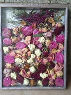 Now you can save his flowers or your wedding bouquet. Just dry and arrange in a shadow box total cost : approximately $17.00