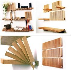 Like a paper fan, these folding bookshelves can open and fold away vertically when not in use. #shelves