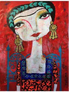 'Frida and her blue chair' Canvas Print by artbythelma Print Design, Oriental, Vibrant Colors, Canvas Prints, Portrait, Gallery, Illustration, Artist, Artwork