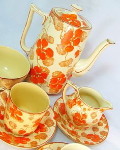 Fabulous 1920s demitasse set... Art Deco Coffee Set Rare Barker Bros Tangerine & by keepsies, £55.00