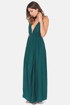 Sexy Dark Teal Dress - Maxi Dress - Backless Dress - $45.00