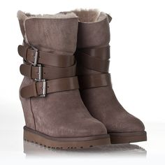 Womens Yes  Wedge Buckle Boot Taupe Suede 312207