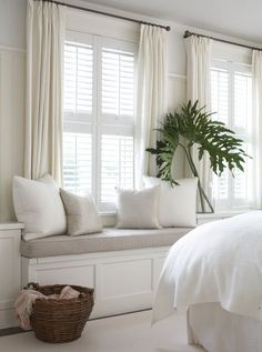 Do I add curtains in living room window seat area? Combining plantation shutters with curtains privacy coziness warmth (for Grayson's room) Shutters With Curtains, White Curtains, Linen Curtains, White Shutters, Indoor Shutters, Window Blinds, Curtains On Small Windows, Curtains For Short Windows, Luxury Curtains