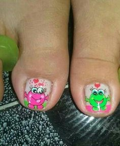 Uñas  animalitos Pedicure Nail Art, Toe Nail Art, Animal Nail Designs, Monster Nails, Cute Pedicures, Nails Only, Neon Nails, Pretty Toes, Nail Colors