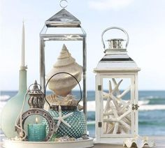 Beach Decor With Lanterns And Seashells