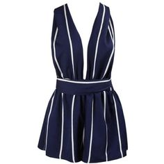 Blue Heaven Romper featuring polyvore, women's fashion, clothing, jumpsuits, rompers, dresses, playsuits, shorts, blue romper, playsuit jumpsuit, blue jumpsuit, jump suit and blue rompers