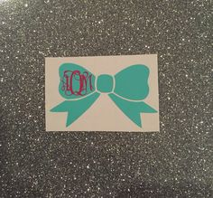 A personal favorite from my Etsy shop https://www.etsy.com/listing/269853277/monogram-bow-decal