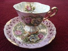 Antique Pink Pedestal Tea Cup and Saucer with by CollectAndFurnish,