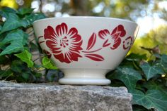 Antique French Cafe Au Lait Bowl / French Faience. Stamped on the bottom with Digoin France and the number 9654. by alpineheart/Etsy