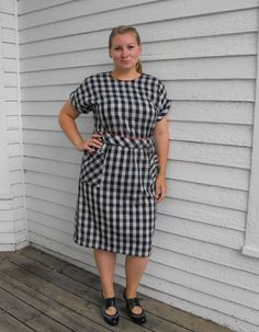 Vintage Button Back Plaid Gingham Dress Black White Red XL 16 by soulrust, $79.99