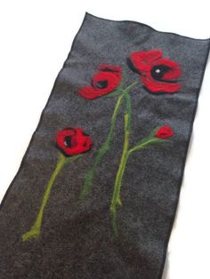 Nuno Felted Wall Hanging Grey Black Red Poppies by ModernArras