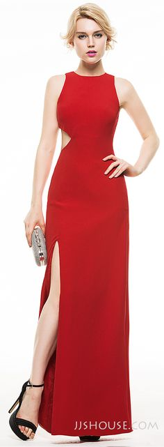 How about this Sheath Scoop Neck Floor-Length Satin Evening dress If you are not bold enough to expose too much? #JJsHouse
