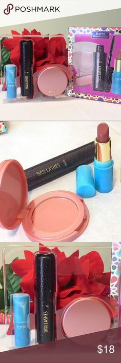 Tarte Precious Pick Color Collection NEW NEW in Box Tarte Precious Pick Color Collection  Get gorgeous on-the-go with these best-sellers Travel set includes a new, deluxe shade of the award-winning Amazonian clay 12-hr powder blush in Ornate (rosy coral) a color splash hydrating deluxe size lipstick  in surf's up (mauve) travel size cult-classic lights, camera, lashes mascara Check out my other makeup items for special bundle discount tarte Makeup Blush