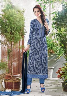 Exclusive Designer Women's Indian Pakistani Ethnic Traditional Cotton Unstitched Salwar Kameez Dress784