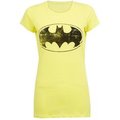 Yellow Batman T-Shirt ($10) ❤ liked on Polyvore featuring tops, t-shirts, shirts, batman, 10. tops., yellow t shirt, yellow shirt, batman logo t shirt, batman logo shirt and yellow top