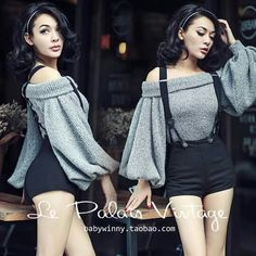 Grey off the shoulders shirt with suspenders shorts