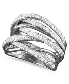 Classique by EFFY Diamond Multi-Row Ring in 14k White Gold (3/4 ct. t.w.)