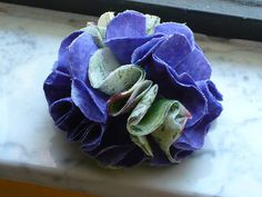 Fabric Flower Pin Purple and Green   by Vintage50sTreasures