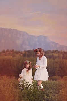 Flower children playing in the meadow