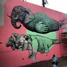 Puerto Rico-based artists, La Pandilla, comprised of Alexis Diaz and Juan Fernandez, are currently creating this highly detailed mural of an unusual Elephant and two-headed koala. The duo was in Atlanta for a one-night only gallery opening at The Jane. Urban Graffiti, Graffiti Murals, Mural Art, Atlanta, Best Street Art, Hip Hop Art, Chalk Art, Street Artists, Public Art