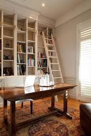 Queensland Circa Renovation - eclectic - home office - brisbane - Charcoal Interiors Library Ladder, Library Shelves, Bookshelf Ladder, Ladder Hooks, Bookcase, Condo Design, House Design, Moving Out Of Home, Tongue And Groove Walls