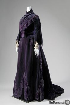 1903, France - Afternoon dress by the House of Worth - Purple silk velvet, chenille fringe, and ivory chiffon
