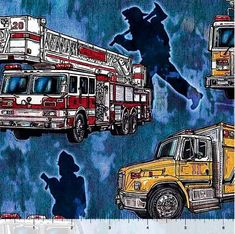 Elizabeth/'s Studio 143-BLACK Emergency Vehicles-In Motion sold by the 1//2 yard