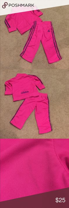 Infant Adidas Tracksuit Super cute track suit. Color is perfect year round. Well cared for. There is a small mark pictured just from storage. I'm confident it will wash out. adidas Matching Sets