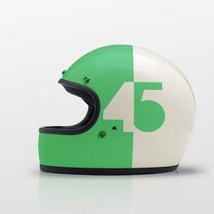 Helmet // white green color accent number positive negative graphic design // bianco verde colore enfasi risalto numero positivo negativo grafica