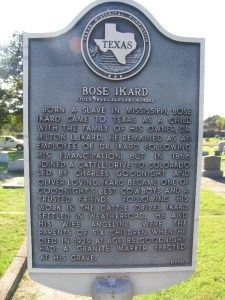 Bose Ikard was born into slavery around 1847[2] or in 1843 in Summerville, Noxubee County, Mississippi. He lived with his master's family prior to the Civil War, becoming a ranch hand and cowboy as he grew up in Texas after the Ikards moved from Mississippi to Parker County, Texas. On the post-war cattle drives, Ikard served as a tracker, a cowboy and as Charles Goodnight's de-facto banker, often carrying thousands of dollars in cash until the money could be deposited.