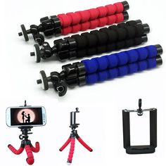 Octopus Tripod Bracket Holder Stand Mount + Holder for Cell Phone iPhone Camera