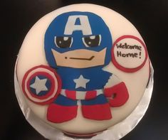 Avengers Cupcakes (photo is close up of Captain America) from Angie's Cakes & Bakes (http://angiescakesandbakes.blogspot.com/2012/04/avengers-assemble.html)