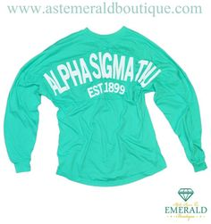 Alpha Sigma Tau Mint Coastal Jersey- a quick fix to a tired winter wardrobe! Now available at Emerald Boutique