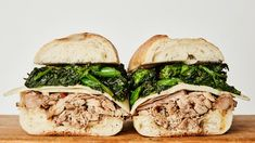 This slow-cooker version of the classic Philly roast pork sandwich is nothing short of perfection: sharp provolone, garlicky broccoli rabe, and lots of jus for dipping. --to try with chicken Slow Cooker Pork Roast, Slow Cooker Recipes, Cooking Recipes, Pork Recipes, Crockpot Recipes, Roast Brisket, Roast Pork Jus, Game Recipes, Dinner Recipes