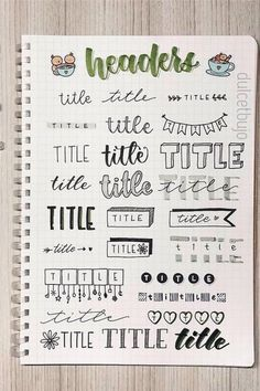 The ultimate collection of bullet journal header and title ideas for inspiration! - Best Bullet Journal Header & Title Ideas For 2020 - Crazy Laura Bullet Journal School, Bullet Journal Headers, Bullet Journal Banner, Bullet Journal Notebook, Bullet Journal Ideas Pages, Bullet Journal Spread, Bullet Journal Inspiration, Bullet Journal Writing Styles, Daily Journal