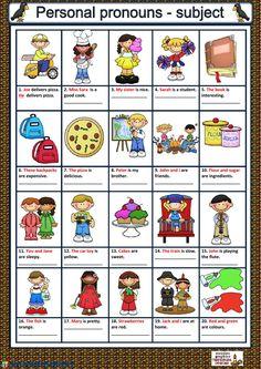 Teaching Pronouns, Pronoun Activities, Pronoun Worksheets, English Activities, Printable Worksheets, Prepositions, Kindergarten Worksheets, Teaching English Grammar, Grammar Lessons