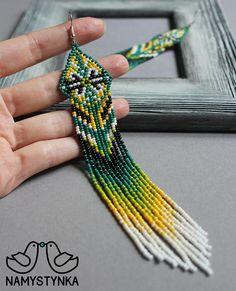 Green native earrings Chandelier earrings Extra long earrings