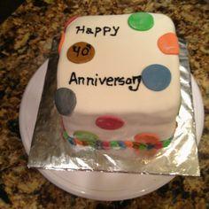 Fondant covered cake with poka dots