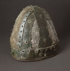 Helmet LACMA M.76.174.149. Iran, 224-651. Bronze with silver and overlays, iron. Gift of Nasli M. Heeramaneck (M.76.174.149)