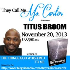Join Author Titus Broom on They Call Me Ms. Carter