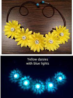 LED Light Up Daisy Flower Headband EDC Flower by BrittsBlossoms