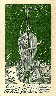 ex libris | bookplate of Loresini Biazzi | Artist: Geiger, Willi, 1878-1971  Date: 1910  Description: States, 'Loresini Biazzi, Cremona,' with 'Stradivarius - Cremona;' features a violin, probably a representation of the 'Cremona' Stradivarius violin. Signed in upper left, 'Willi Geiger;' with 'Florenz 1910' in upper right.  Format: 1 print, col., 14 x 9 cm.  Source: Pratt Institute Libraries, Special Collections 92 (sc00087)   Pratt Libraries Website For inquiries regarding...