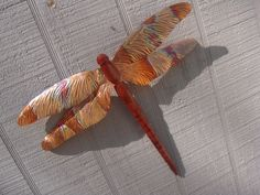 copper dragonfly wall art | Large wall hanging carved cedar and copper dragonfly garden art