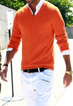 Good use of a colorful sweater & white pant during a cooler season.