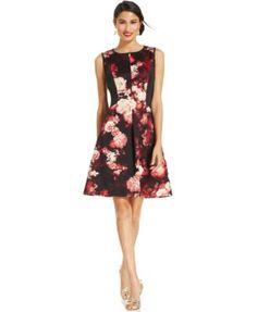 Adrianna Papell Floral-Print Paneled Dress   macys.com