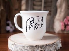 Tea-Rex >> Ceramic Coffee Mug >> Coffee Cup >> Hand Painted >> Unique T-Rex Design >> Customizable