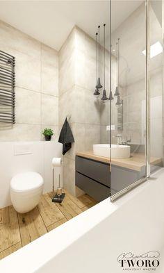 łazienka szara, drewno, beton