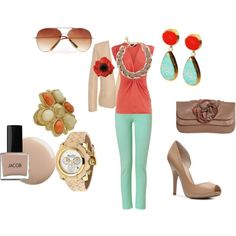 love these colors. and the nail polish. and statement necklace. adore it all!