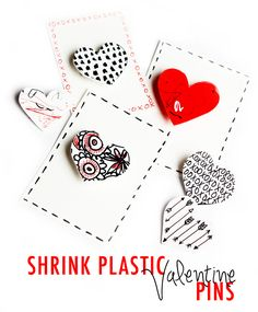 how to: shrink plastic valentine pins (alisa burke) Little Valentine, Valentine Day Crafts, Valentine Heart, Crafts To Make, Arts And Crafts, Paper Crafts, Shrink Plastic Jewelry, Shrink Art, Shrink Paper